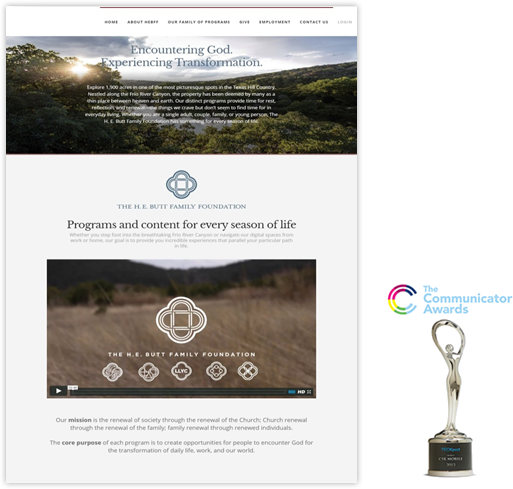 HEBFF website with an award