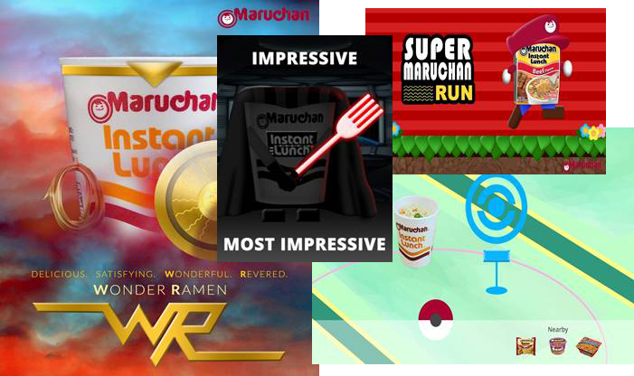 Screenshot of the Maruchan Facebook page, a Facebook post regarding Pokemon Go, and a campaign banner.