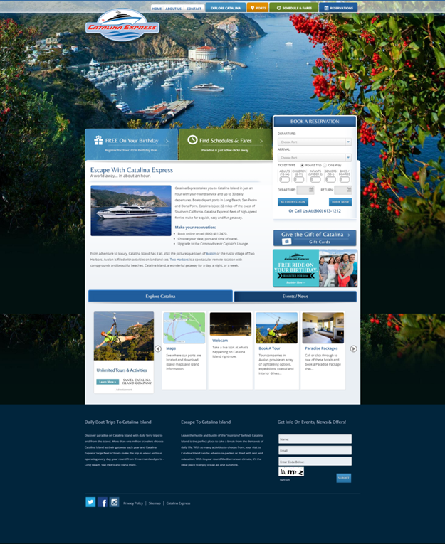 Screenshot of Catalina Express' Website.