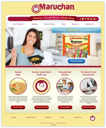 Screenshot of Maruchan Website