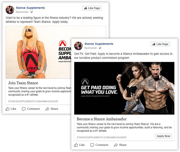 Screenshot of Nutrishops's Stance Supplements Facebook posts.