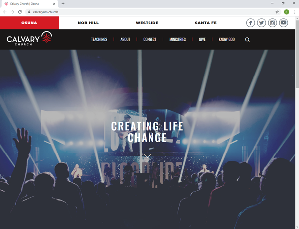 Calvary Church Albuquerque's Website Brand New Design